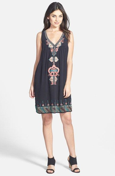 Matty M Embroidered Sleeveless Shirt Dress available at #Nordstrom