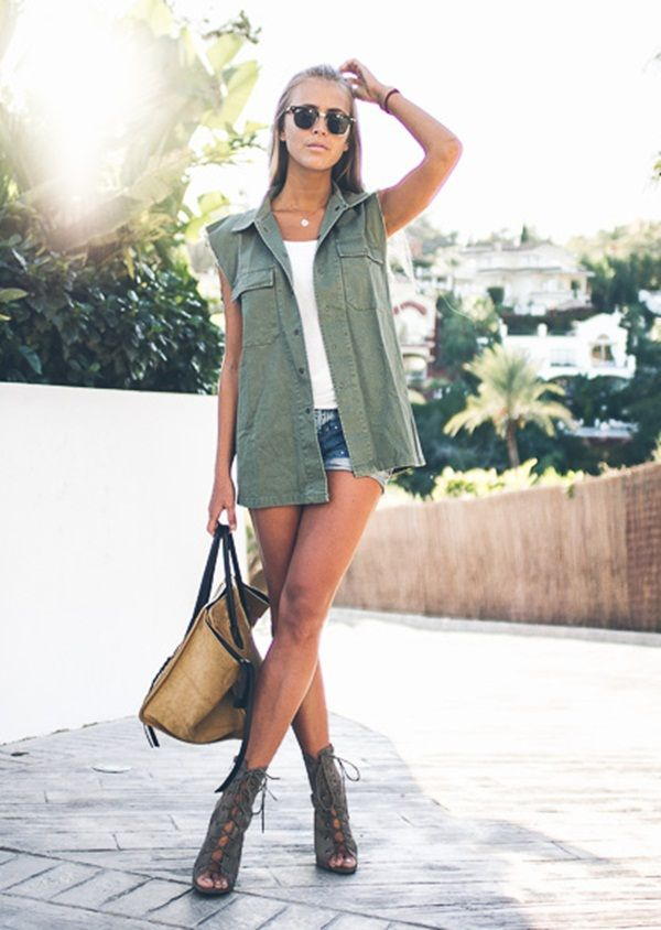 A gorgeous green and gold combo by Janni Delér featuring army green denim vest. | Lookbook Store OOTD #LBSDaily