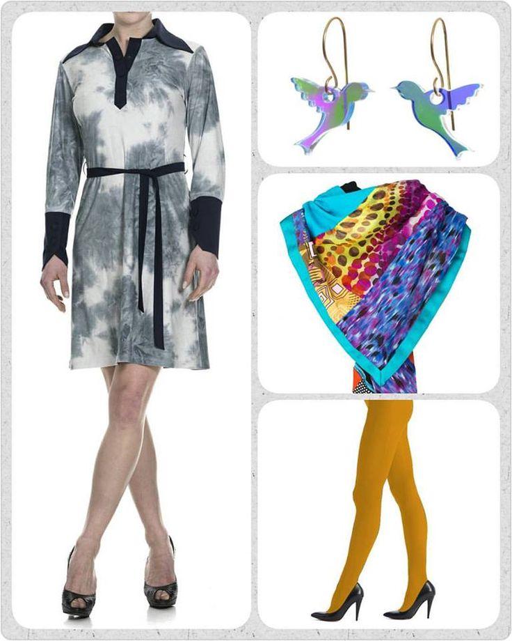 I dette lidt grå vejr, kunne vi godt bruge lidt farve. Derfor er fredags favoritten den skønne Alberte kjole i faux suede, tilsat senneps gule strømpebukser fra Oroblu, fugle øreringe og et af vores cool og bæredygtige Patch Unika tørklæder.