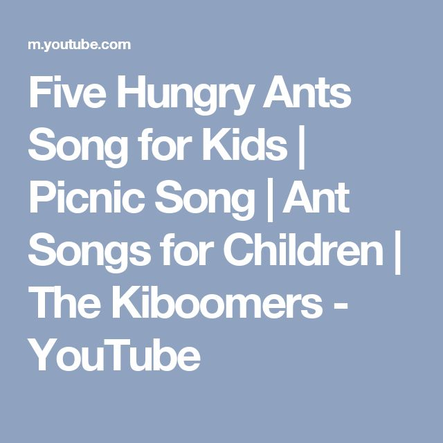 Five Hungry Ants Song for Kids | Picnic Song | Ant Songs for Children | The Kiboomers - YouTube