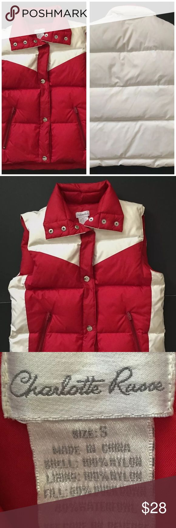 "Charlotte Russe down filled winter vest small Condition: Small spot on back Armpit to armpit: 18.5"" Shoulder to hem: 21.5"" Smoke free, ferret friendly home Charlotte Russe Jackets & Coats Vests"