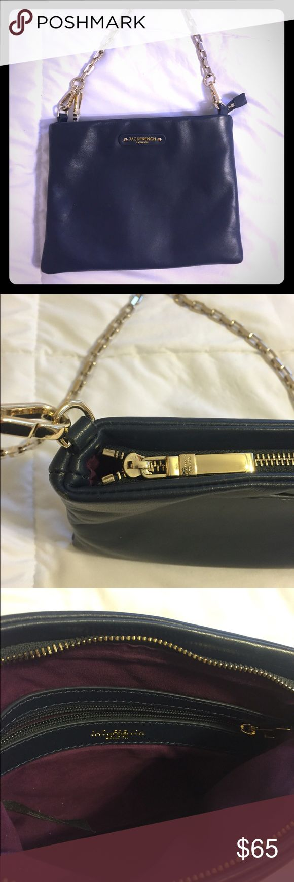 Jack French London crossbody bag This is a great bag for a day out! I bought this about a year ago but only used it once in a while when I was going to be out all day and didn't want to carry around a huge hand bag. Genuine leather with gold colored hardware. Feel free to make an offer :) Bags Crossbody Bags