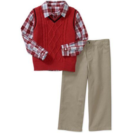 George Baby Boys' 3-Piece Sweater Vest Set, Red