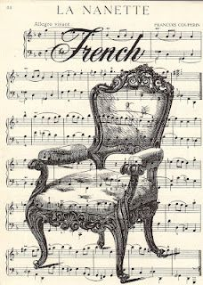Free Vintage Printable - French Chair Sheet Music - This chair would be beautiful quilled over the musical score.