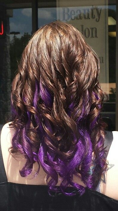 Hair by Tammy Nanney Vibrant Purple underneath with a rich brown chocolate on top.
