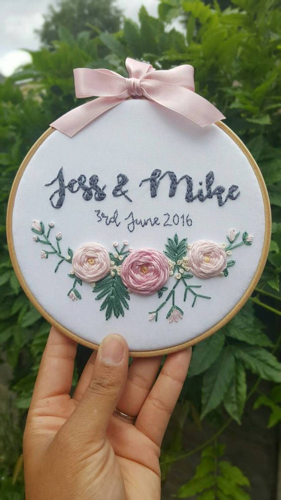 Personalised Wedding gift, Wedding gift, Floral wall art, Anniversary gift, Bespoke Gift, Embroidery Hoop Art, embroidery art, wall art