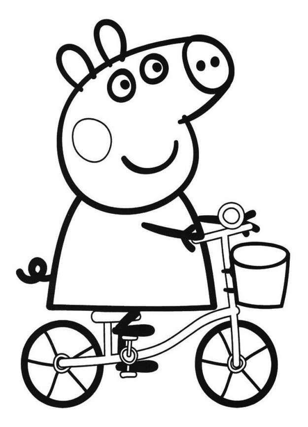 Disegni per bambini piccoli da colorare - Peppa Pig in bici