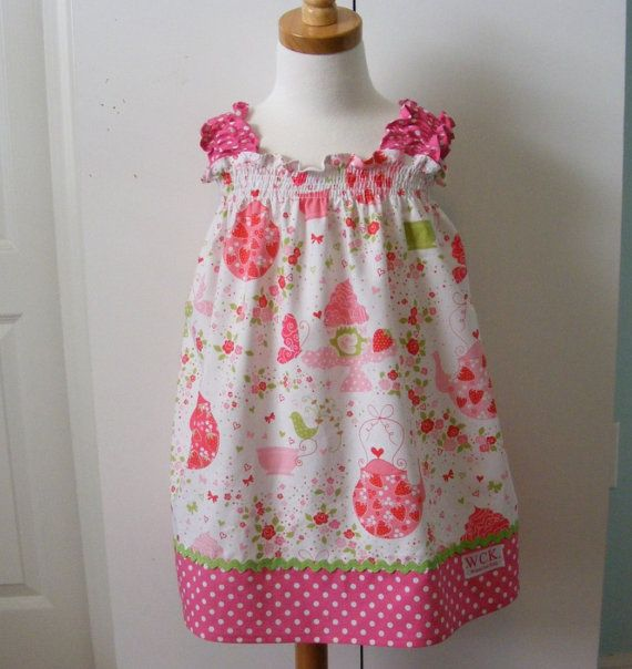 Tea for Two   Shirred Dresses  12 mos 18 mos 24 by wickedcutekidz, $28.00
