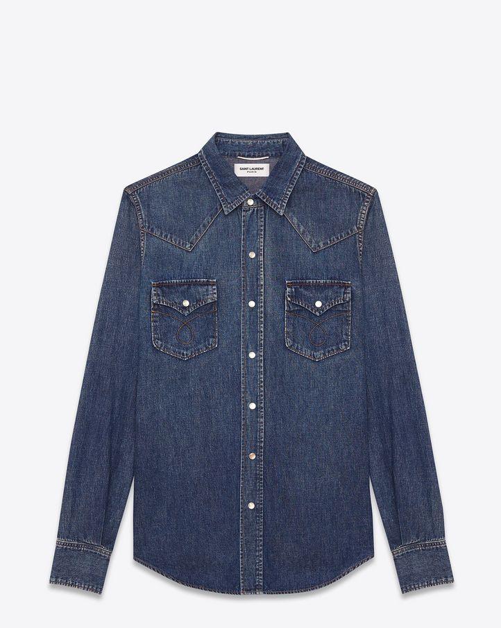 saintlaurent, Chemise western en coton bleu vintage