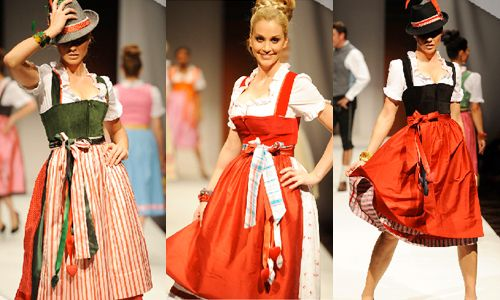 Tradinal Oktoberfest fashion. Colors are consistent with reds, greens, blacks, whites