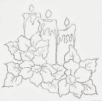 risco de velas de natal com flores