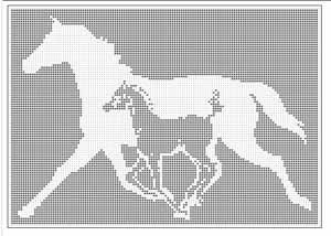 Filet Crochet Patterns Fantasy Pegasus Flying Horse Filet