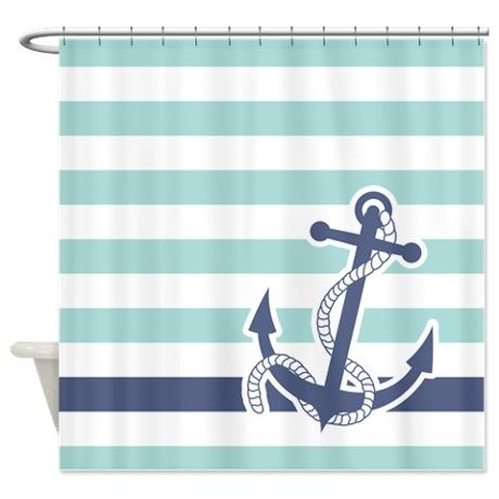 nautical shower curtains | ... & Décor > Nautical Anchor Stripe Light Blue Shower Curtain