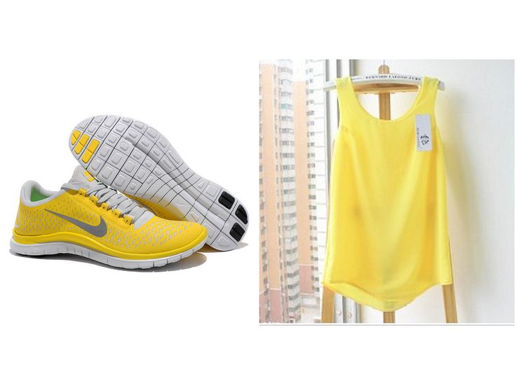Nike Free 3.0 V4 Yellow Reflective Silver Pro Platinum Shoes and Yellow Fashion Summer Vest Pack