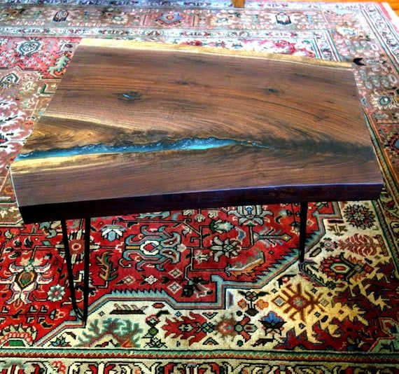 Live Edge Walnut Slab Turquoise Resin Table, River Occasional Table, Hairpin Legs