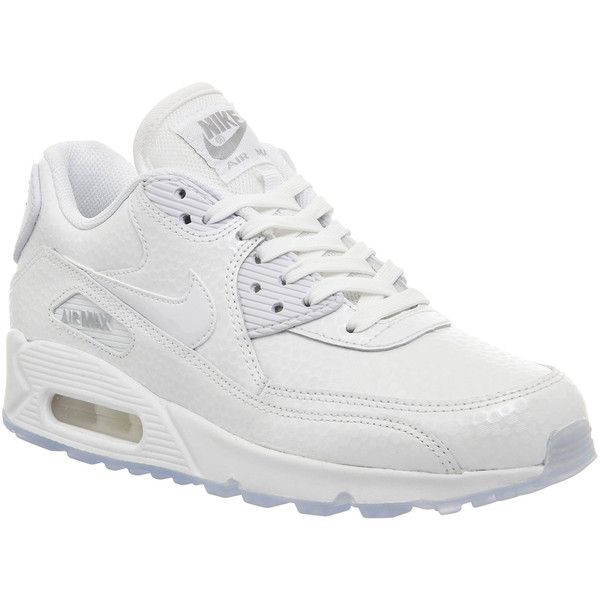 Nike Air Max 90 Pearl Pack (w) ($93) ❤ liked on Polyvore featuring shoes, sneakers, nike, trainers, hers trainers, white metallic silver, silver metallic shoes, nike footwear, pearl shoes and metallic sneakers