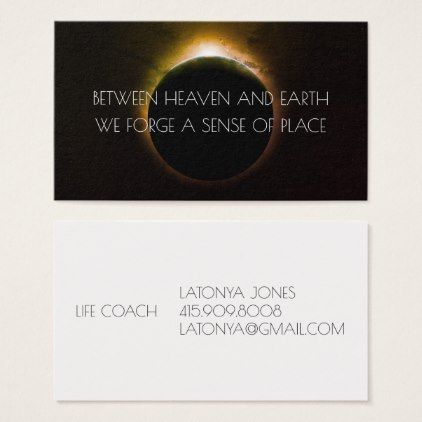 Earth Sun Eclipse Life Coach business Cards - consultant business job profession diy customize