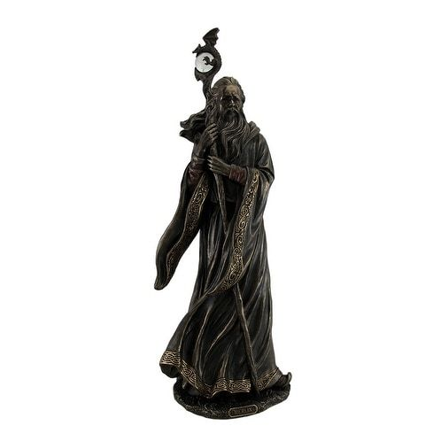 Merlin Grand Wizard w/Dragon Staff Bronze Finish Statue 18 Inch, Gold (Resin)