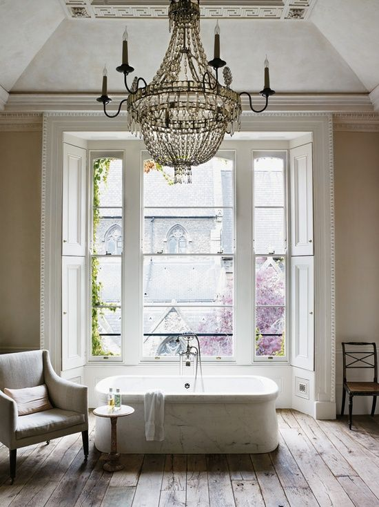 Website Photo Gallery Examples Dream bathroom with huge windows u over sized chandelier How The Interior Designer Rose Uniacke lives Ideas