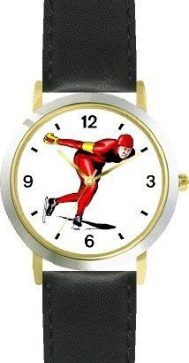 Man Speed Skater Ice Skating Theme Ice Skating - WATCHBUDDY® DELUXE TWO-TONE THEME WATCH - Arabic Numbers - Black Leather Strap-Children's Size-Small ( Boy's Size & Girl's Size ) WatchBuddy. $49.95