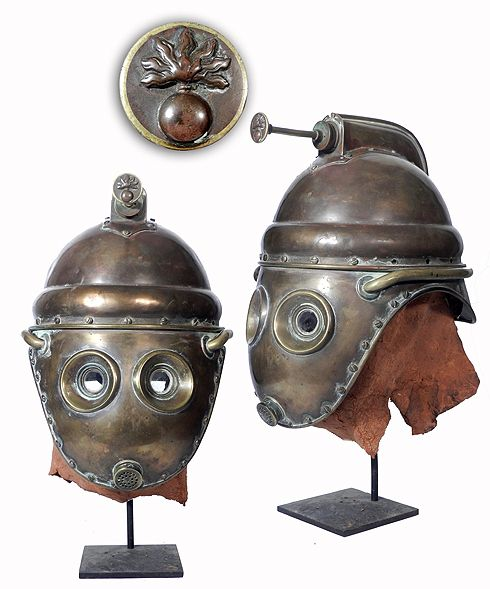 "Rare 1800s Adrian Fireman's Smoke Mask – Radio-Guy.com   ""It looks to be early 1800′s and is definitely French. The insignia on the hand bump was used by the fire service in France and known as the Sapeurs-pompiers. If you have any additional historic information on this helmet email me at erenberg@bestweb.net.  Steve Erenberg Prop."""