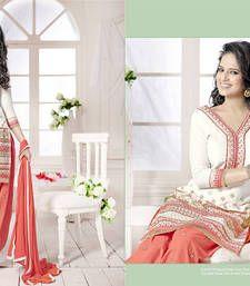 Buy Cream embroidered cotton semi  stitched salwar with dupatta cotton-salwar-kameez online