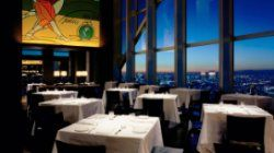 New York Grill, Park Hyatt.  Table set-ups and seating area with Tokyo city view at New York Grill