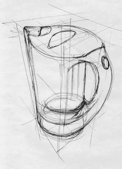 Graphic sketch of a kettle using perspective