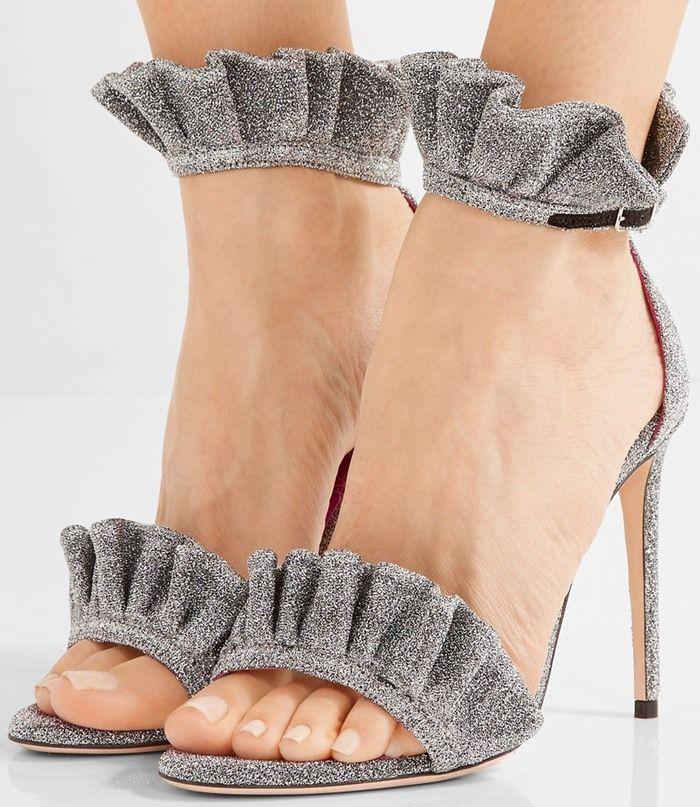 Oscar Tiye 'Antoinette' Ruffle-Trimmed Textured-Lamé Sandals