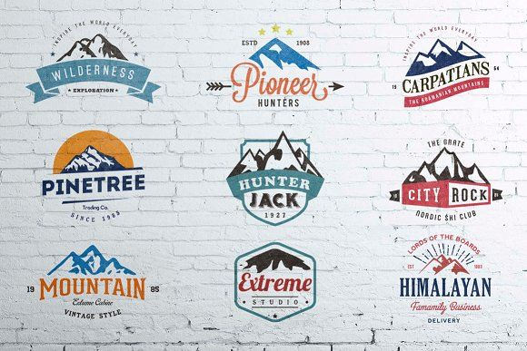 Mountain Vintage Badges Color by lovepower on @creativemarket