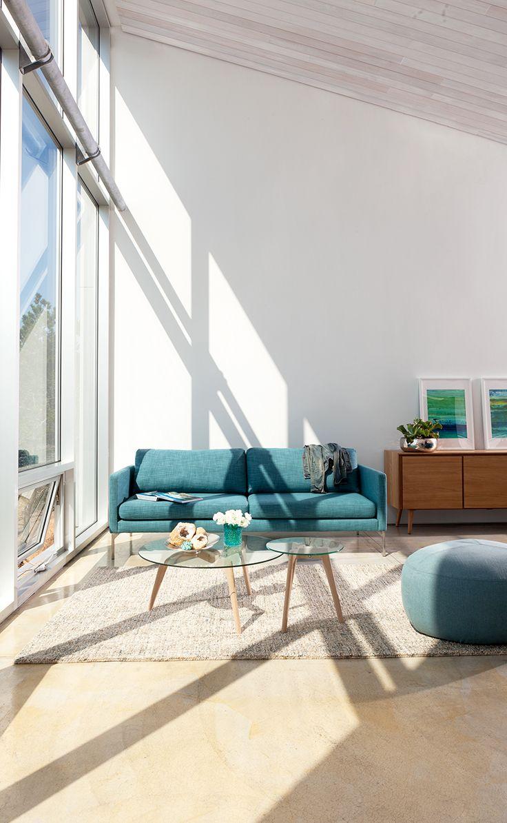 Blue Sofa 3 Seater With Steel Legs | Article Echo Contemporary Furniture.  Blue SpruceLight OakFamily RoomBeach HouseLoftAqua Awesome Ideas