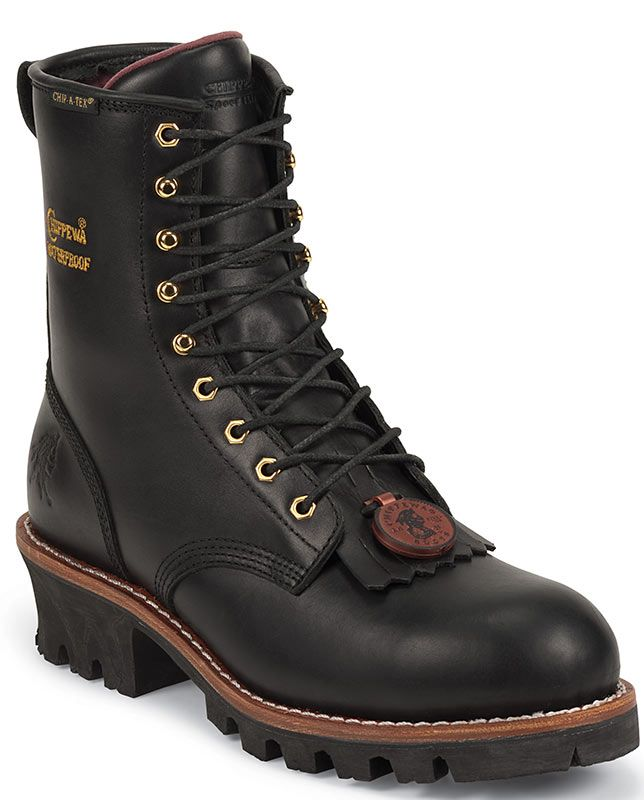 """Chippewa Men's Black 8"""" Waterproof Steel Toe Logger Work Boots - Work Boots & Safety Shoes - Workwear H20 tough resilient rugged outdoors full storm welt lace-up work boots lug rubber outsoles padded tongue best high quality"""