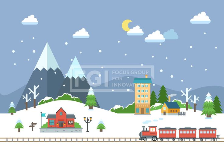 SILL151, 겨울배경, 벡터, 풍경, 에프지아이, 겨울, 배경, 백그라운드, 오브젝트, 기차, 저녁, 밤, 교통, 건물, 산, 마을, 야간…