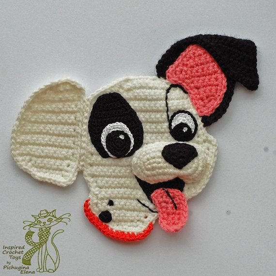 {CROCHET PATTERNS}  Four aplliques with your favourite cartoon heros: Lion Simba, Minnie Mouse, Puppy Patch and Kitten Marie These crochet appliques would be a wonderful addition and decoration to your childrens clothing, different pillows and curtains and other interior.  Crochet it by your own hands! You can save 10% and buy four crochet patterns at once.  These patterns contain a step by step description of the work with detailed pictures and schemes and patterns are available in English…