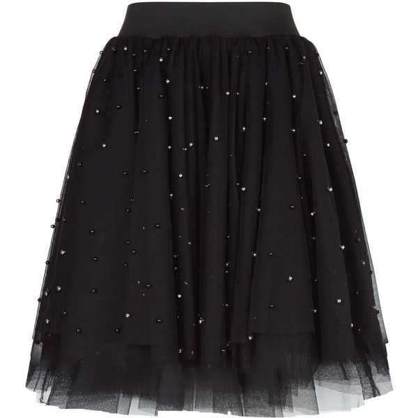 Maje Embellished Tulle Skirt ($245) ❤ liked on Polyvore featuring skirts, mini skirts, elastic waist skirt, long tulle skirt, sport skirts, beaded skirt and tulle mini skirt
