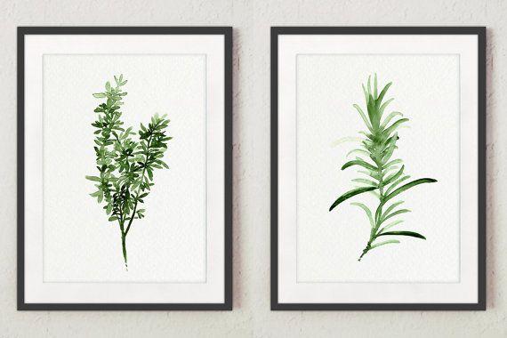 Thyme Rosemary Art Print Herbal Kitchen Decor Green Leaves