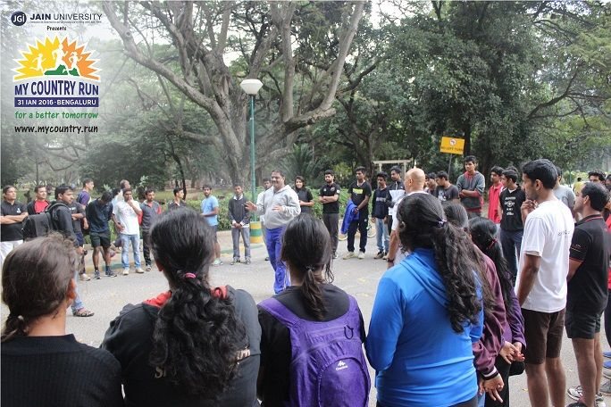 Training session in the Promo Run of #MyCountryRun that was held on 24th Jan 2016 in Cubbon Park. As energy levels are going high participants are ready to burn the tack in Bangaluru's most electrifying run. Register now @ www.mycountry.run