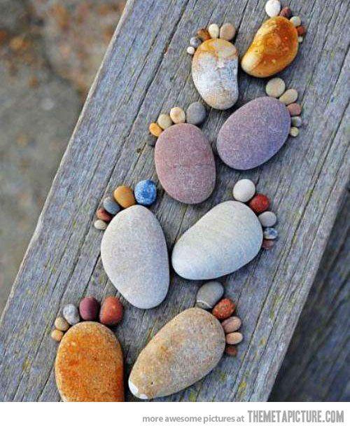 : Rock Feet, Footprints, So Cute, Foot Prints, Cute Ideas, Rocks Feet, Step Stones, Gardens, Crafts