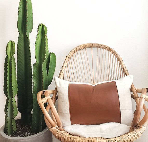 Saguaro Pillow Cover | Leather Pillow, Mudcloth Pillow, Morocco Leather, White Mudcloth, Boho Pillow, African Fabric