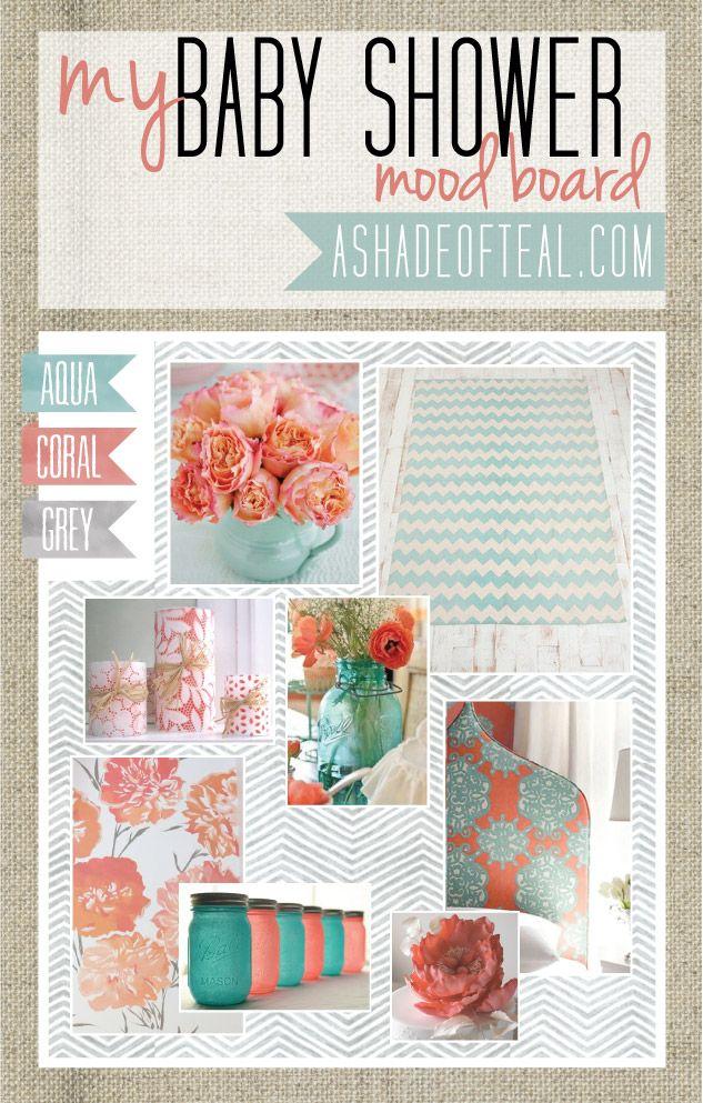 Coral Aqua Grey, Baby Shower Ideas, Mood Boards