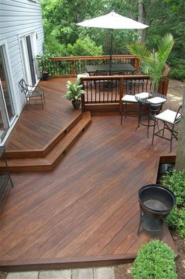 create a safe but open wood deck design using a multi level plan with rails - Outdoor Deck Design Ideas