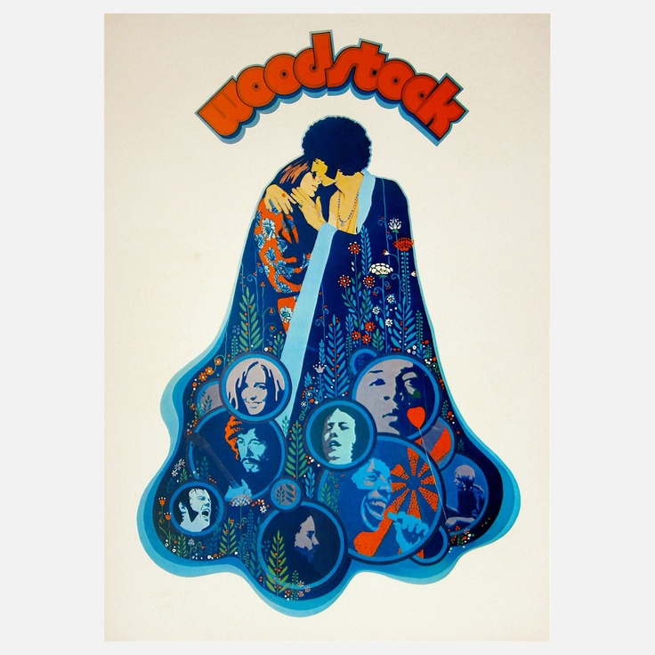 Original German poster for the seminal Woodstock documentary. Designed by Richard Amsel.