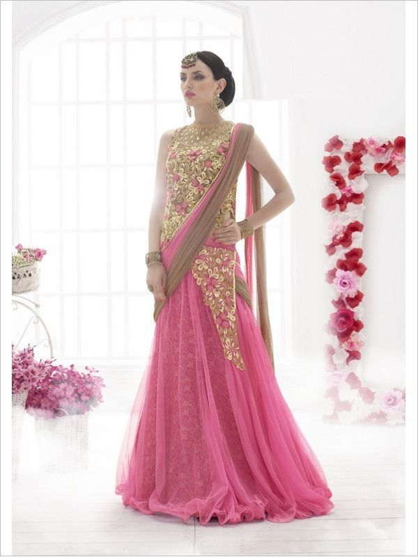 Pink Party Wear Net Saree
