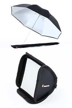 Softboxes and umbrella are two of the most popular light modifying tools for portrait, wedding and product photography, essential for creating flattering lighting. Manfrotto softboxes and umbrella enable photographers to create softer, more diffused lighting and thus eliminate harsh shadows on the subject. Specifically designed for ease of usage, Manfrotto softboxes and umbrella ensure instant set-up without the need of any tools.