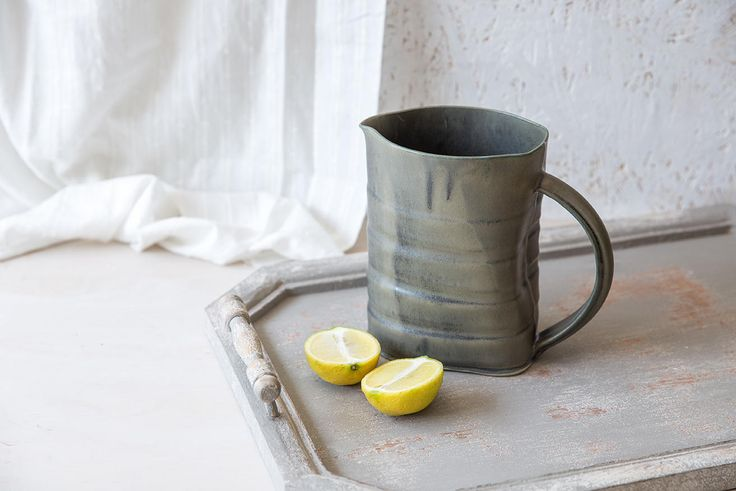 Drinking Pitcher, Ceramic Pitcher, Serving Pitcher, Water Pitcher, Pottery Pitcher, Ceramic Pitcher Vase, Modern Pitcher, Iron Green Pitcher by FreeFolding on Etsy https://www.etsy.com/listing/549049465/drinking-pitcher-ceramic-pitcher-serving