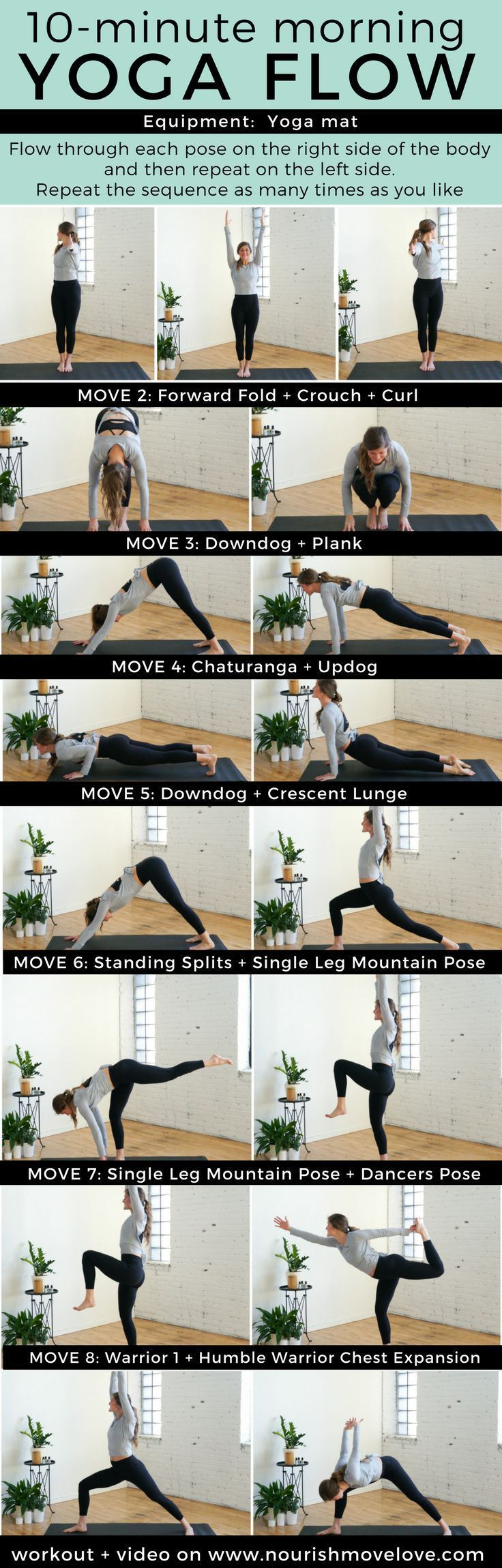 10-Minute Morning Yoga Flow for Beginners   www.nourishmovelove.com #yogaflow #fitness