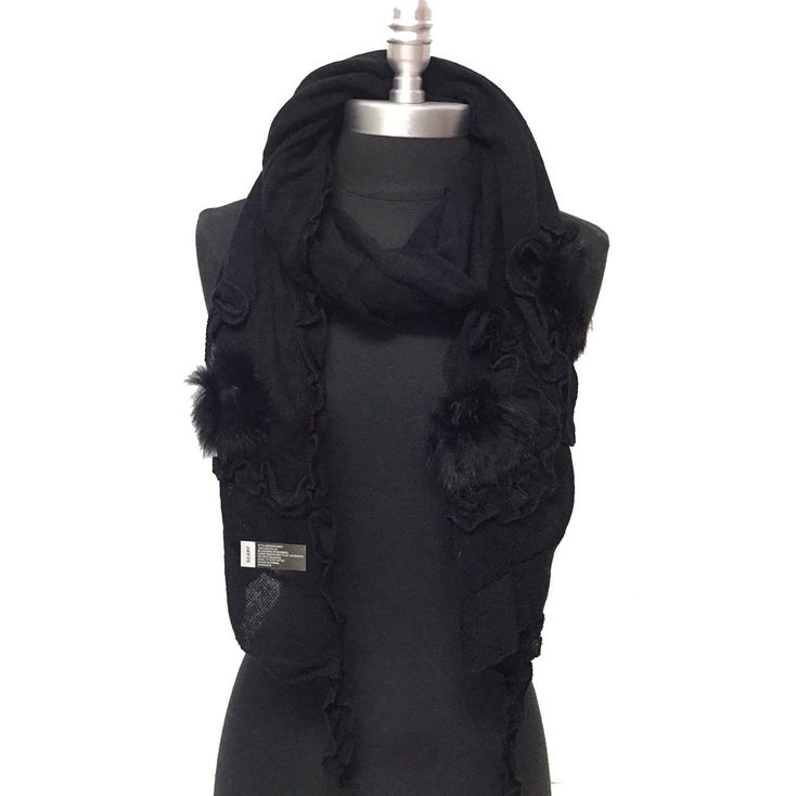 Women's Winter Knit With Faux Fur Simple Scarf Wrap Shawl Soft, Black