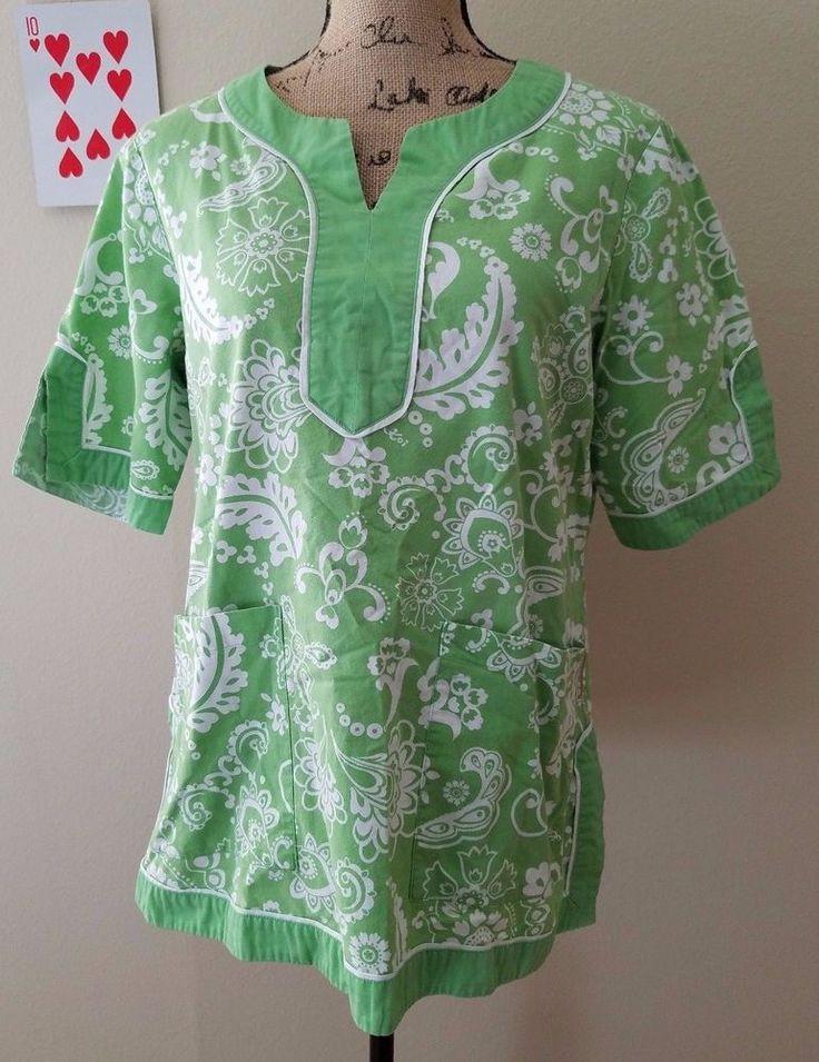 Koi Kathy Peterson Hawaiian Medical Scrub Top Smock Large L Green White Floral  #Koi