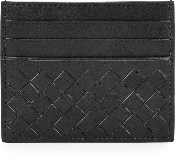 Bottega Veneta Woven Leather Credit Card Sleeve, Black - $250.00