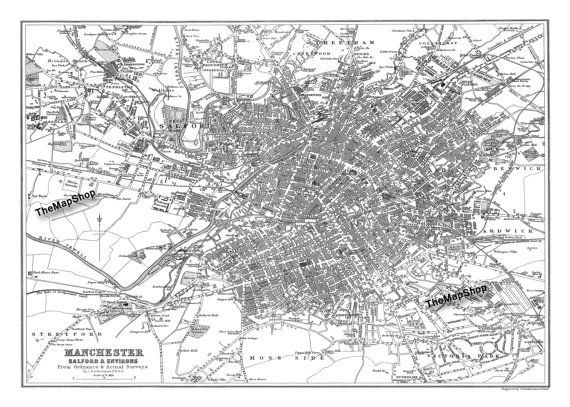 Vintage Map of Manchester England 20x30 by TheMapShop on Etsy, $29.95
